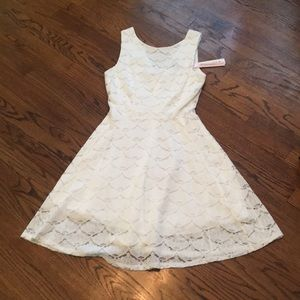 NWT AQUA White Lace Skater Dress